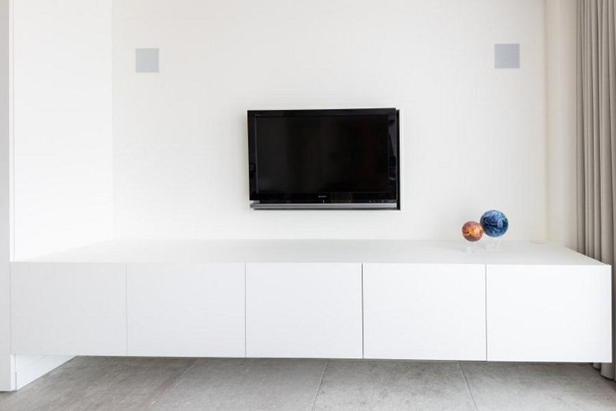 Houten Tv Meubel Op Maat.Living Tv Meubel Hangdressoir Wit Fenix Maes Boons Interieur