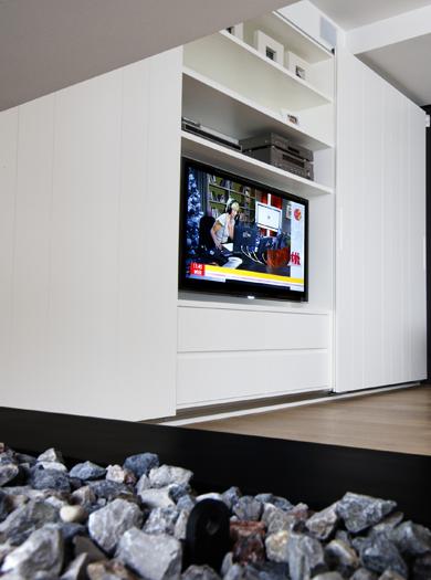 Tv Meubel Lak Wit.Maatwerk Maes Boons Tv Meubel Wit Strak Verdoken Handgreep